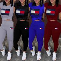 ingrosso vestiti da jogging-Le donne progettano 2 pezzi di marca vestito da jogging vestito di squadra girocollo manica corta stampa lettera t-shirt bodycon leggings pantaloni abbigliamento estivo 623