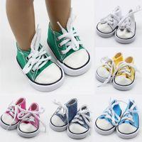 renda de boneca rosa venda por atacado-43 cm Born Baby Doll Shoes Canvas Lace Up Sneakers Branco Preto Verde Rosa Vermelho Sapatos para 18 polegada Altura Da Menina Bonecas Acessórios