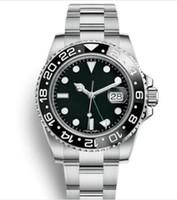 нержавеющие стали оптовых-2019 Master GMT Керамическая рамка Мужская механическая нержавеющая сталь Автоматические часы с автоподзаводом Спортивные часы с автоподзаводом Светящиеся наручные часы