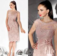 ücretsiz gelin elbiseleri toptan satış-2019 Seksi Illusion Anne Elbise Diz Boyu Dantel Aplikler Boncuklu Abiye anne Gelin Elbiseler Düğün Ücretsiz Nakliye Için