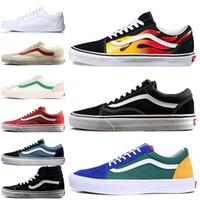 Discount Sale Van Old Skool Men Women Canvas Sneakers Black White YACHT CLUB Red Blue Trainers Skate Casual Shoes Sorts Outdoor Sneakers