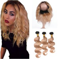 Wholesale honey brown hair weave online - 1B Light Brown Ombre Band Lace Frontal Closure With Weaves Body Wave Honey Blonde Ombre Peruvian Virgin Hair Bundles Deals