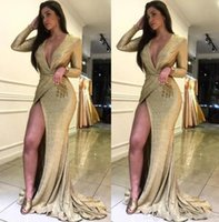Wholesale sparky dresses for sale - Group buy Sexy Gold Sequin Long Sleeve Prom Formal Evening Dresses Deep V neck Slit Sparky Sexy Floor Length Special Occasion Gowns