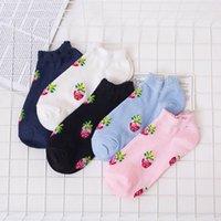 melhores meias de verão para mulheres venda por atacado-Mulheres coloridas Chinelo Meias Bonito Morango Doce kawaii Rosa Branco Preto Primavera Verão Meias Curtas para Feminino Melhor Presente