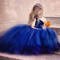 Wholesale thanksgiving clothes for kids resale online - Flower Girl Dress Blue Flowers Ribbons for Girls Tulle Dresses Birthday Party Wedding Ceremonious Kid Girl Clothes Gown for Kids