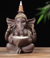aromahalter großhandel-India Backflow Räuchergefäß Elephant God Keramik Smoke Waterfall Räuchergefäß Aroma Therapy Home Office Incense Crafts