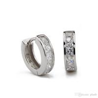 ingrosso orecchini di diamanti di alta qualità-Hot4U S925 Orecchini a bottone in argento bianco naturale Orecchini a cerchio in cristallo per le donne Moda Anello per orecchini Orecchini di diamanti da uomo di alta qualità
