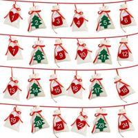 Wholesale felt christmas gift bags resale online - Felt Calendar Date Countdown Garland Decoration Advent DIY New Year Christmas Gift Bag