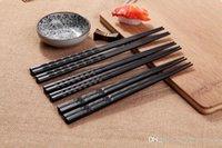 ekolojik dostu çubuklar toptan satış-Görsel Dokunmatik Chopsticks Kaymaz Dayanıklı Dalga benzeri Çiçek Desen Alaşımlandırma Eleman Siyah Chopsticks Yeni Çevre dostu Aile Oteli bulaşığı