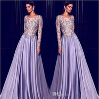 ingrosso manicotto del vestito da sera di elie saab-Elie Saab Lavender Dubai Arabo Kaftan maniche lunghe abiti da sera Ricamo in oro 2019 Elegante collo a sirena Celebrity Dress Prom Party Wear