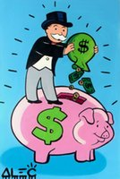 Wholesale animal piggy banks for sale - Group buy Alec Monopoly Graffiti art decor Piggy Bank Home Decor Handpainted HD Print Oil Paintings On Canvas Wall Art Pictures