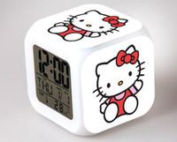 presentes para miúdos olá vaquinha venda por atacado-Olá Kitty Relógio de Mesa Dos Desenhos Animados Olá Kitty Despertador Relógios de Mesa de Mesa Presente de Aniversário Para O Miúdo