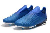 zapatos de fútbol al aire libre de interior al por mayor-Messi Tacos de fútbol al aire libre X 19 + FG 35-45 Purecontrol celeste nuevos originales zapatos de fútbol de interior para hombre Botas de fútbol