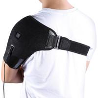 soporte trasero de neopreno ajustable al por mayor-Yosoo Carga USB Soporte para el hombro con calefacción Neopreno ajustable Soporte para un solo hombro Terapia de frío en frío Envoltura de almohadilla Guardia trasero