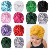 bonés de inverno recém-nascidos para meninas venda por atacado-Chapéu de turbante do bebê Tampões recém-nascidos com decoração de nó Crianças Meninas Hairbands Head Wraps Crianças Outono Inverno Acessórios para o cabelo HHA703