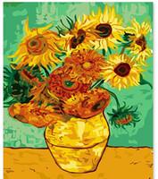 yağ soyut resim ayçiçeği toptan satış-Sayılar Tarafından DIY Dijital Boyama Boyama Sarı Ayçiçeği Yağı Resimleri Tuval Ev Dekor Duvar Sanat Soyut Çizim Yok Frame-16X20 inç