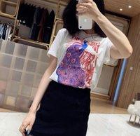 t-shirt druckfarbe großhandel-Hot 19SS Frühjahr und Sommer neue MIU Pfau gedruckt Baumwolle Kurzarm T-Shirt Luxus Designer Pfau Tinte Druck Kurzarm