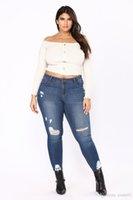 yeni stil kadın pantolon toptan satış-Seksi Moda Yeni Stil Kadın Yüksek Bel Kot Tam Boy Bayan Jeans Slim Pantolon Için Yırtık Kot Sıska