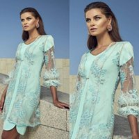 Wholesale plus size mother bride gowns jackets for sale - Group buy 2019 Elegant Mother Of Bride Dresses With Jacket Long Sleeve Feather Wedding Guest Dress Knee Length Mother Of Groom Gowns Plus Size CR