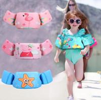 bebekler kolu toptan satış-Çocuklar Flamingo Yeleği Bebek Kol Halkası Can Yeleği Yüzen Köpük Güvenlik Ceket Karikatür Havuz Su Yeleği Çocuk Mayo GGA2210