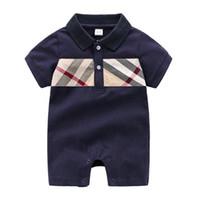 ingrosso vestiti del bambino per la vendita-Vendita calda Tute per neonato Plaid stampato Abbigliamento neonato Toddlers Moda Pagliaccetti Per bambini Casual Pagliaccetti a maniche corte per neonati