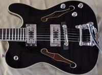 ventas directas de guitarra de fábrica al por mayor-envío libre, FIREHAWK doble caliente F agujero TELE guitarra eléctrica del jazz de encargo guitarras TL negro, ventas directas de la fábrica,
