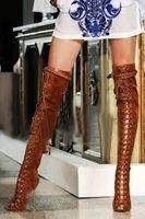ingrosso sandali in cotone marrone-Stivali stile europeo in pelle scamosciata marrone sopra il ginocchio Stivali con punta aperta in pizzo Cinturino con fibbia in metallo Stivali con tacco alto e tacco alto