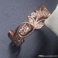 Wholesale flower wind for sale - Group buy GGJewellry flower wind Sterling Silver rose gold ring jewelry Simulated Diamond CZ RING Finger Wedding Band ring Women Sz