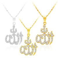 ingrosso monili musulmani del pendente-Collana con ciondolo arabo Collane con totem musulmani islamici Collana in argento placcato oro per gioielli da donna