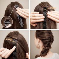 plastikgeflecht stirnband groihandel-Neue 3 stücke Frauen Braid Elegantes Haar Schwarz Braun Kunststoff Diy Maker Werkzeuge Stirnbänder Haarbänder Haarschmuck Set