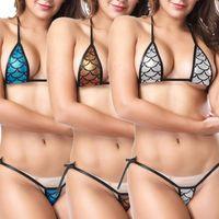 mikro dize tanga toptan satış-2019 Seksi bikini Kadınlar Göz alıcı Parlak Bikini Mikro Halter Üst + G-String Set Mayo tanga bikini