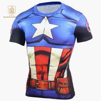 Wholesale order white tees for sale - Group buy Avengers Cosplay T Shirt Super Men Batman D Printed Short Sleeve Mens Rashgard Gym Quick Dry Tees Clothing