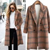 ingrosso blazer plus size women-Autunno Inverno Suit Blazer Women 2018 Formal Wool Blends Jacket Coat Work Office Lady Plus Size Blazer manica lunga ucraino 4XL
