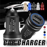 Wholesale adapter power bank for sale - Group buy Metal Car Charger V A Fast Charging Adapter W Dual Ports USB Car Adapter for Android iPhone Universal Cellphones with Retail Box