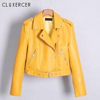 chaqueta de piel sintética amarilla al por mayor-2019 Nueva Primavera Otoño Mujeres Biker Chaqueta de cuero Soft PU Punk Outwear Casual Moto Faux Leather Yellow Jacket