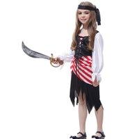 trajes de jack al por mayor-disfraz de Halloween para los niños capitán pirata Jack Sparrow partido del niño niñas traje de cosplay vestido de Carnaval