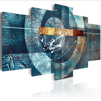 Wholesale galaxy posters resale online - 5 Panels Hot Canvas Print Blue Galaxy Landscape Poster Modern Home Wall Decor Painting Canvas Printing Art HD Print Painting