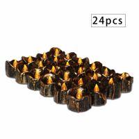elektronisch 24 großhandel-24 Stücke Urlaub Kerze Überzogen Zerreißen Elektronische LED Kerzenlicht Halloween Weihnachtsdekor Kerzen Flackern Flameles Dropship