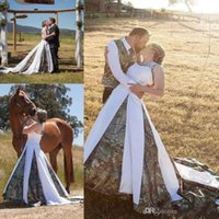 Wholesale new camo wedding dresses for sale - Group buy 2019 New Camo Princess A Line Wedding Dresses Spaghetti Appliques Plus Size Sweep Train Elegant Country Bridal Gowns Custom Made