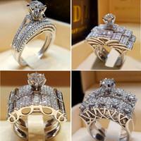 925 silberner ringweinlese großhandel-Boho Weiblichen Kristall Weißen Runden Ring Set Marke Luxus Versprechen 925 Silber Verlobungsring Vintage Braut Hochzeit Ringe Für Frauen