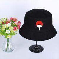 naruto hüte großhandel-Anime Naruto Akatsuki Rote Wolke Uchiha Familie Logo Hut Frauen Herren Panama Eimer Hut Uchiha Familie Design Angeln Fischer Hut