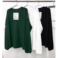 camisas ocasionais da camisa das mulheres t das mulheres venda por atacado-Vetements Camisetas Homens Mulheres Manga Comprida Solta Casual Ambos Os Lados Top Tees Bordado Preto Branco Verde Patch Vetements T-Shirt