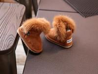 ayaklar ısınma ayakkabıları toptan satış-Yeni Moda çocuk ayakkabıları shoes süper mükemmel açık düz toddler kızlar Kar botları Tavşan saç ayak isıtıcı