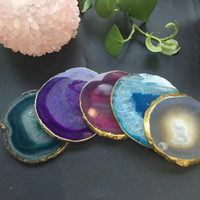 Wholesale agate slice gift for sale - Group buy Natural Agate Geode Slice adiabatic Cup Mat Crystal Plate Jade Carnelian Coaster with gilt lace Mineral Specimen for Home Decoration Gift
