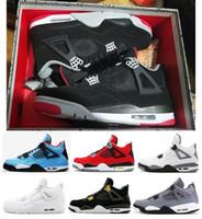 erkekler için serin basketbol ayakkabıları toptan satış-En iyi Kalite 4 s 2019 Bred Beyaz Çimento Kaktüs Jack Toro Bravo Basketbol ayakkabı Erkekler 4 Dövme Yangın Kırmızı Serin Gri Sneakers Ile Sneakers
