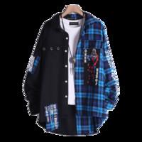 camisas ocasionais dropshipping venda por atacado-Hip Hop Patchwork Camisas Casuais Camisa Dos Homens de Manga Comprida Streetwear Japonês Camisa Xadrez Harujuku Dropshipping 2018 50R0005