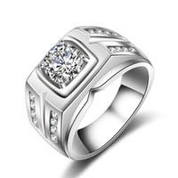 grandes anillos de compromiso de oro al por mayor-2019 Nuevo 1.25CT Oro Blanco Plateado Grandes Anillos de Piedra Blanca para Hombres CZ Joyería de Diamante Compromiso Boda Hombres Anillos