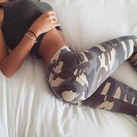 seksi sıska ince tozluk baskısı toptan satış-Kadınlar Düşük Bel Camo Tayt Seksi Pantolon Şınav Kamuflaj Baskı Rahat Sporting İnce Jeggings T190711