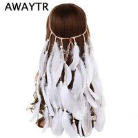 beyaz düğün tüyü saç aksesuarları toptan satış-AWAYTR Boho Beyaz Kırmızı Pembe Tüy Bandı Kadın Festivali Düğün Şapkalar Çingene Tüy Halat Taç Headdress Saç Aksesuarları