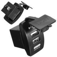 zócalo dual del usb 12v al por mayor-KROAK Dual Car Cigarette Lighter Socket Charger Adaptador de corriente USB Splitter 12V Viaje para moto / barco / caravanas
